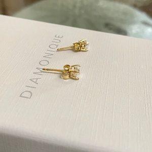 Diamonique Jewelry - New diamonique 14k gold plated earrings